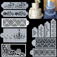 10 Types Lace Flower Cake Cookie Fondant Side Baking Stencil Wedding Decor Tool