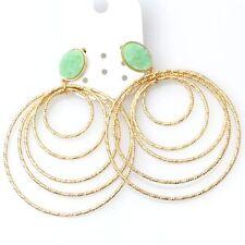 Costume Fashion Earrings Studs Big Creole Green Jade Imitation Baroque C2