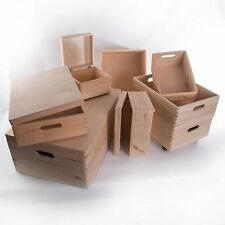 Large Wooden Storage Bo Plain Wood Box With Lid Crate Trunk Containers