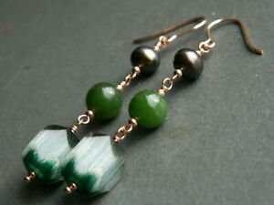 Art Deco Green Cathedral Glass, JADE Gemstone, Pearls, Rolled Rose Gold Earrings