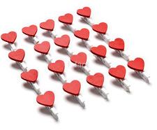 20pcs Love Heart Wooden Clothes Photo Paper Peg Pin Clothespin Craft ClipsCA