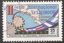 El Salvador Air Post Stamp - Scott #C235/A196 15c Multicolored Canc/LH 1966