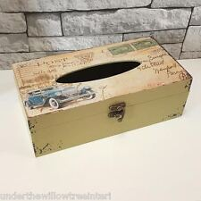 Tissue Storage Box Vintage Cars Design Men Fathers Gift Wooden Home Gents Office