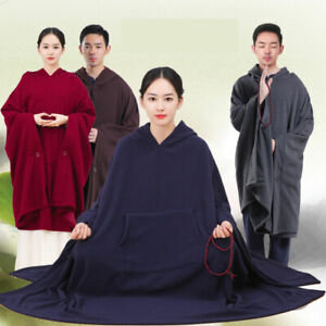 Meditation Cloak Unisex Women Men Yoga Buddhist Relaxation Hooded Warm Long Coat