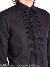 """DIESEL BLACK GOLD Black L/S Pleated Textured Shirt UK36 IT46 Small 15"""" 38cm BNWT"""