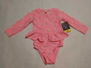 NWT Baby Gap Unicorn Rainbow Long Sleeve 2PC Rashguard Swimsuit Toddler Girl