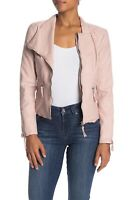 BLANKNYC Faux Leather Fitted Moto Jacket Womens Size Medium Pink Zip NWT