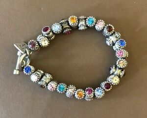 RARE Vintage Rodrigo Otazu Swarovski Colored Crystals  Barrel Bracelet