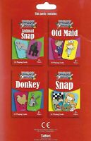Pack of 4 Children's Playing Cards Games Old Maid Animal Snap Donkey & Snap