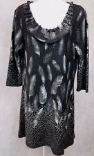 Papillon Sweater Dress Sz L Black & White 3/4 Sleeve A Line Feather Design