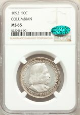 1892 NGC CAC MS65 Edge Toned Columbian Expo Commemorative Silver Half Dollar GEM