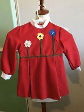 Vintage Ruth Of Carolina Girls 4/5 Red Long Sleeve Flower Dress Polyester VTG