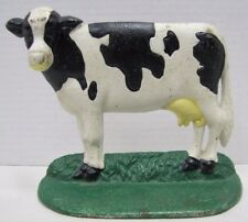 Vintage Cast Iron Cow Doorstop black white spotted country farm doorstopper