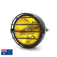 "Black motorcycle 6.5"" grill headlight Harley chopper cafe racer bobber custom XL"