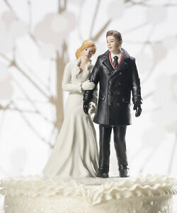 Winter Wonderland Romantic Couple Wedding Cake Topper