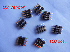 Gold plated 8 Pin Headers - (2x4) Double Row 2.54mm Straight Male Pin - 100 pcs.