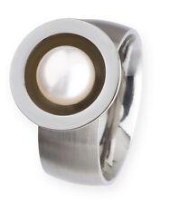 Ernstes Design Ring R164 Perle 7 mm Edelstahl matt poliert Weite48-62 Zuchtperle