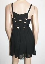 Ladakh Brand Black Chiffon Lace Up Back Sleeveless Dress Size 8 BNWT #SH01