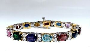 26.50ct Natural Emeralds Aquamarines Red Tourmaline Bracelet 14 Karat Gemline