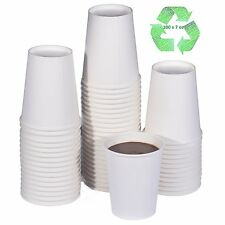 100 x 7oz White Paper Cups For Hot Drinks Premium Disposable Coffee/Tea Cups