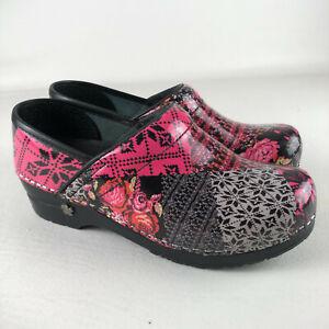 Koi by Sanita Black Pink Floral Geometric Clogs Comfort Shoes Womens 37 US 6 6.5