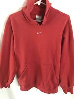 Vintage Nike Center Swoosh Hoodie Men's Size Medium Grey Tag Red Embroidered