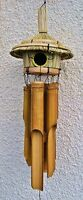 Bamboo Wind chimes With Bird House Top 45cm NEW Fair Trade Home or Garden use