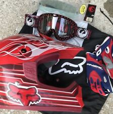 Fox Motocross Helmet Youth Small, Oneal Gloves, Dragon Goggles Pack