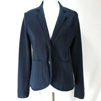 Lands End Knit Blazer Womens Sz 8 Navy Blue Long Sleeve Button Front Jacket