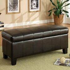 Home Creek Faux Leather Storage Bench, Brown