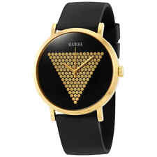 Guess Imprint Black and Gold Dial Black Silicone Men's Watch W1161G1
