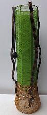 Lampada Piantana cilindrica in vegetale e stoffa color verde cm 100x24