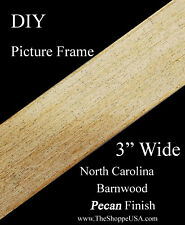 """Diy 30"""" x 40"""" 3"""" Wide Pecan Stained Barnwood Picture Frame Moulding"""