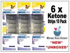 Ketone Test Strips 6x 10 Pack (60 Strips) FreeStyle Optium Blood Abbott *UNBOXED