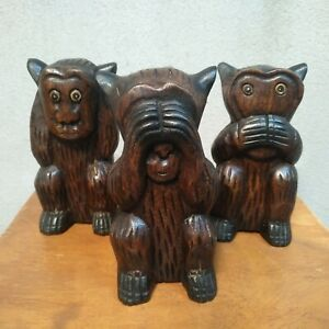 Wooden 3 Monkeys Closed Mouth Ears Eyes Handmade Carved Home Decor Gift