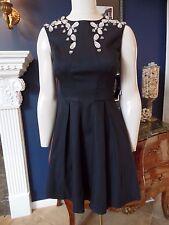 NWT AQUA Black Taffeta Fit & Flare Beaded Sleeveless Cocktail Sheath Dress 2