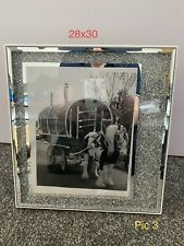 Large 30x 28 Crushed Diamond Horse And Wagon Picture Frame Romany Gypsy Silver 3