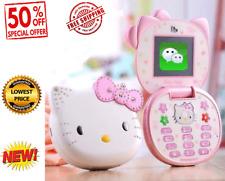 Cute Mini Hello Kitty Girl Phone K688+ Quad Band Flip Cartoon Mobile Phone Unloc