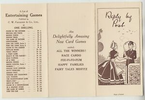 REPLY BY POST - Postman - C W Faulkner Game Card - 8 x 15 cms when folded c1920s