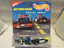 HOT WHEELS POLICE FORCE ACTION PACK W/ARMORED CAR POLICE CRUISER AND FIGURES