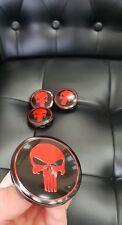 4x Punisher 56mm Felgendeckel Nabendeckel Nabenkappen Alufelgendeckel Schw Rot