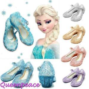 Girls Princess Elsa Cosplay Sandals Jelly Shoes Kids Fancy Dress Up Size 7 8 9