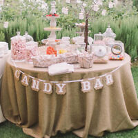 Party Wedding Decor Sign Candy Bar Kraft Paper Bunting Banner Garland Cardboard