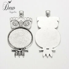 5 x Owl  pendant tray Cabochon Settings Antique Silver bezel jewellery Tray:30mm