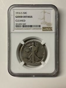 1916 S Walking Liberty Silver 50C Key Date Coin NGC Good Details