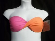 NWT Hula Honey NEON PINK ORANGE PUSH UP BANDEAU BIKINI TOP SIZE L LARGE