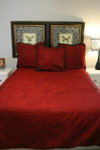 Burgundy Brown Reversible Duvet Cover and  3 Euro Pillow Shams Queen Size