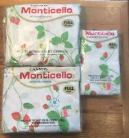 Cannon Monticello Full  Sheet Set Fitted Flat Standard Pillowcases Strawberries