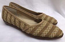 Eric Javits New York Womans Striped Beige Braided Mesh Flats Shoe Size 9.5N
