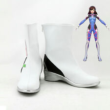 OW Overwatch DVA Cosplay Shoes White Boots Flat Heel Custom Made